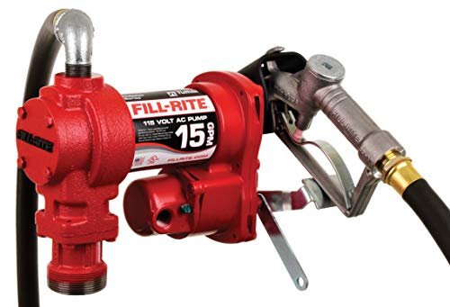 Fill-Rite FR610H 115V 15 GPM Fuel Transfer Pump (Manual Nozzle, Discharge Hose, Suction Pipe)