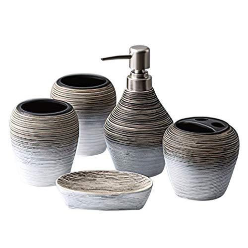 MUZI Juego de 5 accesorios de baño de cerámica de diseño moderno...