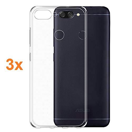 REY Pack 3X Cover in Gel TPU Trasparente per ASUS ZENFONE Max Plus M1 ZB570TL, Ultra Sottile 0,33 mm, Morbido Flessibile, Custodia Silicone