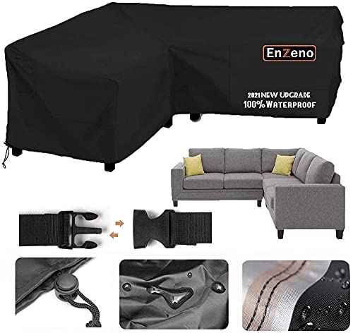 Garden V-Shape Furniture Cover Waterproof, 420D Heavy Duty Oxford Fabric Outdoor Rattan Corner Sofa Cover with Waterproof Tape (215 * 215 * 87cm)-270*270*90cm