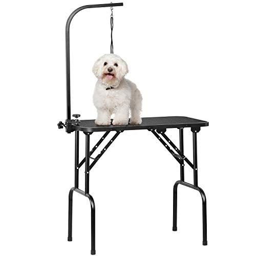 Yaheetech Hundepflegetisch, Trimmtisch für Hunde, Hundefriseur Tisch, Hunde Badetisch, Pudel Fellpflege, Hund Schertisch, höhenverstellbar, rutschfest, bis 100 KG belastbar