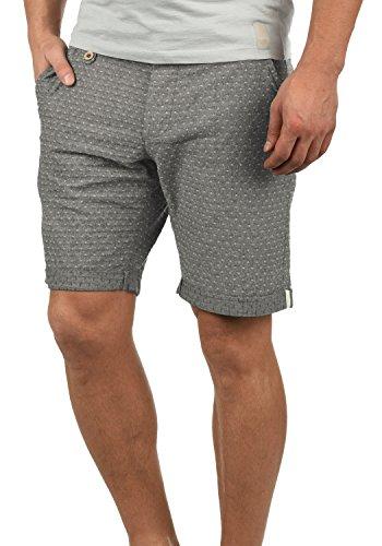 Blend Sergio Herren Chino Shorts Bermuda Kurze Hose Mit Rauten-Muster Aus 100% Baumwolle Regular Fit, Größe:M, Farbe:Black (70155)