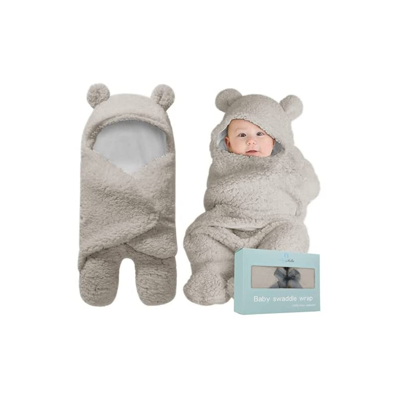 crib bedding and baby bedding bluemello swaddle blanket | ultra-soft plush essential for infants 0-6 months | receiving swaddling wrap grey | ideal newborn registry and toddler boy accessories | perfect baby girl shower gift