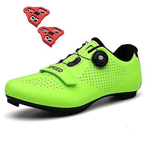 Zapatillas de Ciclismo Hombre Mujer Zapatillas de Bicicleta de Carretera Indoor Peloton con Tacos Compatible Pedal Look Delta SPD Green 230