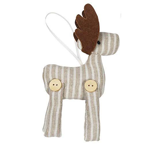 Ib Laursen My Nostalgic kerstboomversiering rendier beige gestreept/Kerstmis/kerstversiering/nostalgische/landelijke stijl/vintage