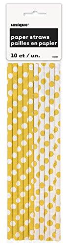 Unique Party- Dots Straw Cannucce di Carta in Set da 10, Colore Giallo (Yellow), Confezione, 62083