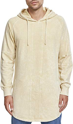 Urban Classics Herren Terry Acid Washed Long Shaped Hoodie Kapuzenpullover, Beige (Light Goldenoak 01447), L