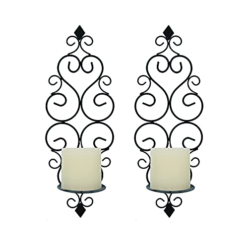 Wall Sconce Candle Holder Set of 2, Iron Retro Elegant Scroll Design Foldable Hanging Wall Mounted Decorative Candle Holder for Bedroom, Dining, Room, Weddings, Events, Black