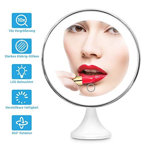 BEQOOL Kosmetikspiegel mit Beleuchtung 10x Vergrößerungsspiegel mit Verstellbarer 3 Helligkeitsstufen 360°schwenkbar Saugnapf Badspiegel Make-up Runden für Zuhause und Unterwegs