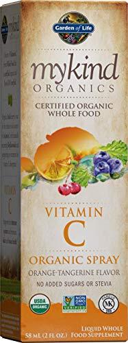 Garden of Life Vitamin C with Amla - mykind Organic Whole Food Supplement for Skin Health, Orange Tangerine Spray, 2oz Liquid Packaging May Vary