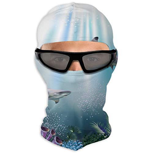 N/Een Full Face Masker De Onderwater Wereld Met Haaien En Planten) Capuchon Zonnebrandmasker Dubbele Laag Koud Voor Mannen En Vrouwen