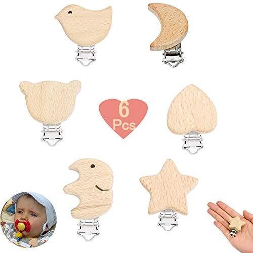 6 Stück Schnuller Clip Nuckelclip Baby Clip Metall Holz Schnullerclip Säugling Schnuller Verschlüsse Halter Schnullerketten Clips Nippel Halter für Baby und Kind