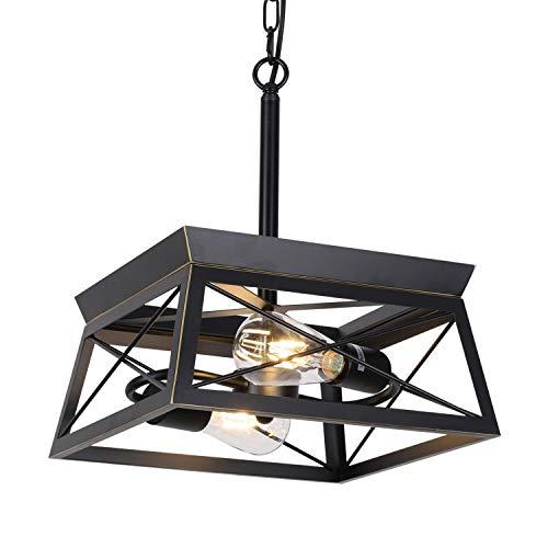 HMVPL - Lámpara de techo colgante industrial, montaje semi empotrado, lámpara de techo pequeña, 2 luces para cocina, isla, comedor, dormitorio, vestíbulo, pasillo, puerta frontal