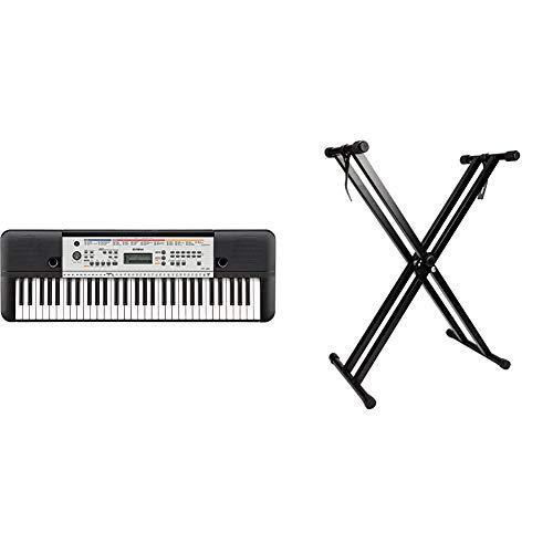 Yamaha YPT-260Teclado digital portátil para principiantes, 61 teclas y una amplia variedad de funciones y sonidos, color negro + RockJam Soporte de teclado de doble refuerzo