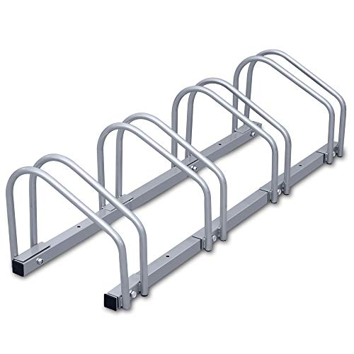 wolketon Fahrradständer Für 4 Fahrräder Boden- und Wandmontage Stahl verzinkt, 101 x 32 x 26 cm