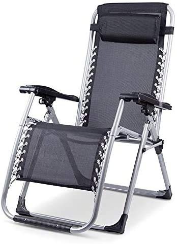Anzkzo Garden Extra Wide Zero Gravity Chair Rocking Chair Folding Camping Chair Patio Lawn Chairs Reclining Sun Lounger Cushion Pads- Black