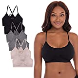 René Rofé Lingerie Women's 6 Pack Seamless Medium Support Racerback Wirefree Sports Bra Yoga Top with Removable Pads (Basic Pack, Large)
