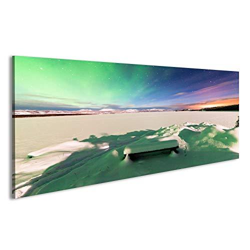 Quadri Moderni spettacolare esibizione di Aurora boreale intensi o Aurora boreale Stampa su Tela - Quadro x poltrone Salotto Cucina mobili Ufficio casa - Fotografica Formato XXL