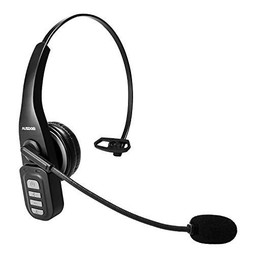 Bluetooth Headset, AUSDOM BW01 Single Ear Business Phone Headset with Noise Cancelling Mic, Hands-Free Wireless 5.0 Mono Headset for Office iPhone Samsung PC MAC Laptop Skype Call Center Truck Driver