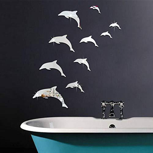 Vovotrade Stickers Mural Miroir Dauphin Acrylique 3D Mignon Dauphin Combinaison Effet Miroir Autocollant Sticker décor à la Maison (Silver)