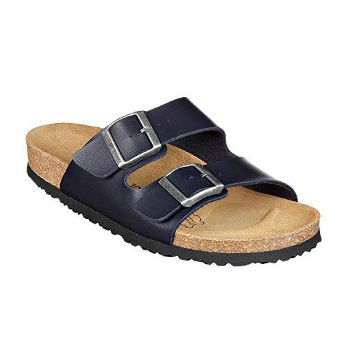 JOE N JOYCE London Unisex Sandalen für Männer und Frauen, für schmale Füsse, Größe: 43 EU, Farbe: Blau, Material: SynSoft, Zwei-Riemer, 2-Riemen, Damen, Herren