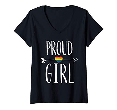 Femme Fierté de la fille au cœur arc-en-ciel Drapeau de la fierté T-Shirt avec Col en V