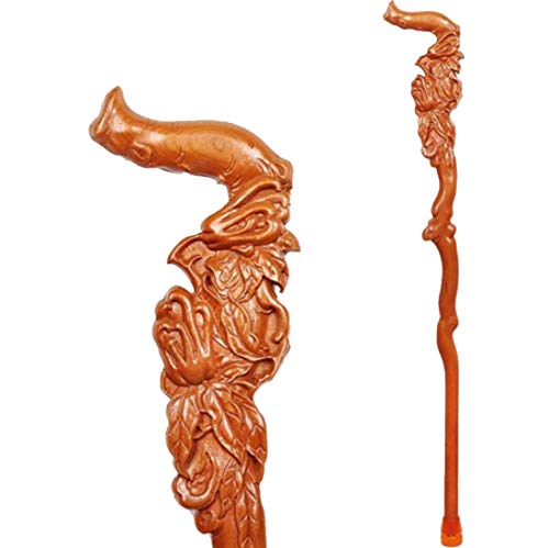 ELIUSI Solid Wood Walking Sticks for Women, Natural Wood Hand Carved Walking Canes with Non-Slip Rubber Tip, Ergonomic Design Wooden Canes,Canes_37inch