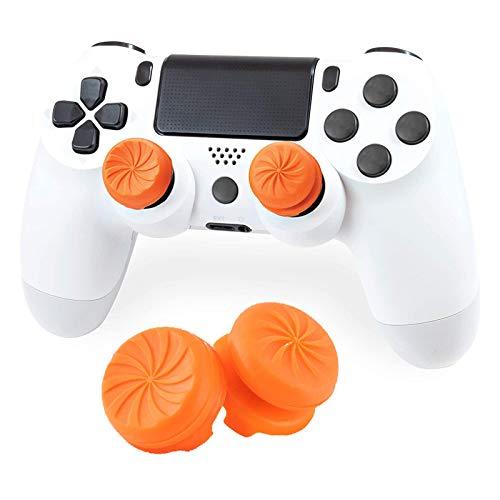 Aerku FPSフリーク PS5 PS4 コントローラー用 親指グリップキャップ アナログキャップ ジョイスティックカバー 可動域アップ 高さ調節 アシストキャップ(2個セット/オレンジ)