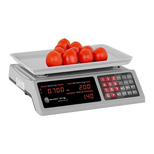 Steinberg Balance Poids-Prix Électronique Professionnelle SBS-PW-402EP (Non Homologuée, 0-40 kg, ±2 g, 33x23 Cm, 6 Écrans, 7 Espaces Mémoire, Plateau ABS)