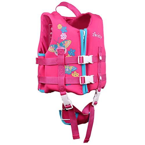 Zeraty Kleinkind-Schwimmweste, Schwimmwesten für Kleinkinder, Schwimmanzug-Badebekleidung für Kinderwesten mit verstellbarem Sicherheitsgurt für Unisex-Kinder Schmetterlingsblume M