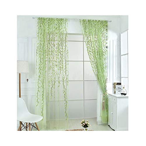 Rely2016 2 Pieces Willow Window Curtain Voile Tulle Room Salix Leaf Sheer Gauze Curtain Voile Panel Drapes Curtain Green Color for Living Room, Bedroom, Balcony (100 x 200cm)