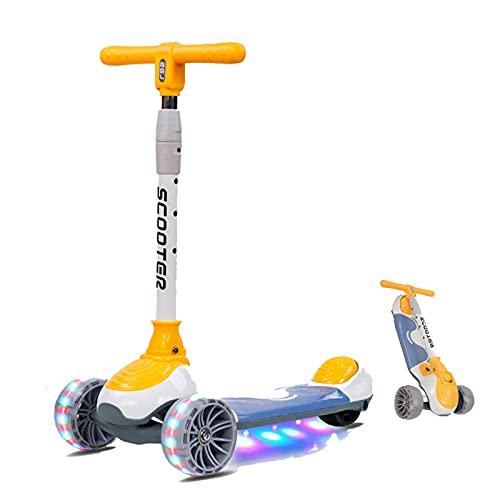PTHZ Scooter Infantil, Scooter Plegable Ajustable en Altura, con Ruedas Intermitentes ampliadas y configuración de dirección de inclinación, Adecuado para niños, niñas y niños de 2 a 10 años,Amarillo