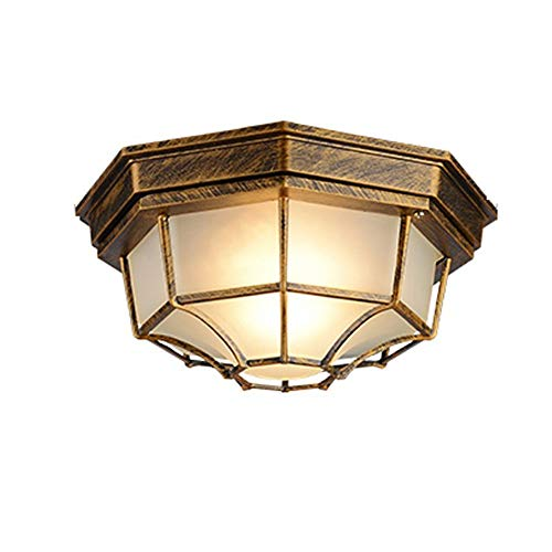 Vintage aluminium plafondlamp, LED-glas verlichting decoratie zwart/antiek koper kroonluchter plafondlamp Aisle balkon buiten waterdichte plafondlamp