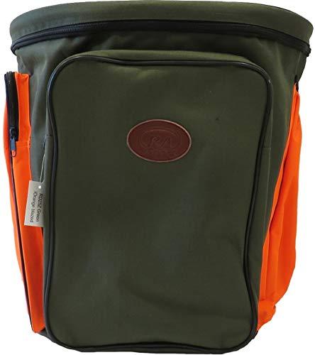 Ra sport Mochila de setas porcini profesional con fondo de red y cesta de mimbre, gerla 45 x 45 cm, camuflaje rígido, impermeable, ligera oferta (verde con bolsillos naranjas)