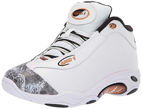 AND 1 Men's Tai Chi LX Sneaker, White/Mixtape Graffiti/Copper, 9 Medium US
