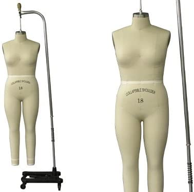 Model #601 Professional Dress Form Female Full Body Size 18 Collapsible shoulder. ST-FULLSIZE18+One Free Arm