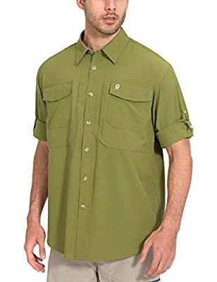 Little Donkey Andy Men's Stretch UV Protection Long Sleeve Shirt for Hiking, Travel, Fishing, Tactical, Quick-Dry Olive Size XXL