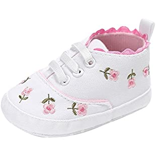 Customer reviews for 0-18 Months Kids, ❤️ Xinantime Infant Baby Girls Soft Sole Anti-Slip Sneakers Newborn Canvas Floral Crib Shoes (0~6 Month, White)