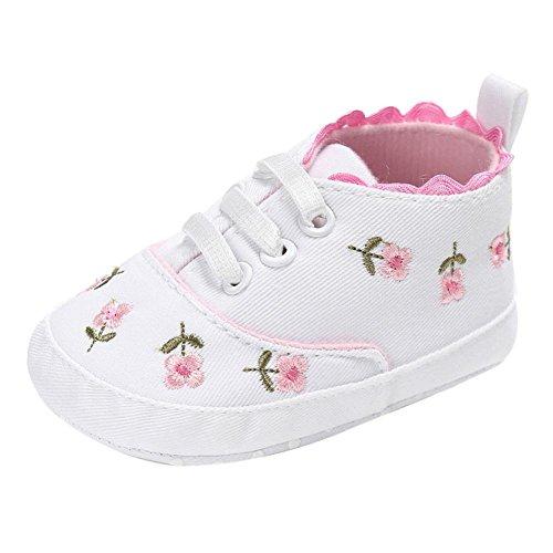 Babyschuhe Neugeborenen Lauflernschuhe Baby Mädchen Krippeschuhe Lederpuschen Floral Krippe Schuhe Krabbelschuhe Sternchen Schuhe Wanderschuhe Krabbelschuhe LMMVP (Weiß, 13CM (12~18 Month))