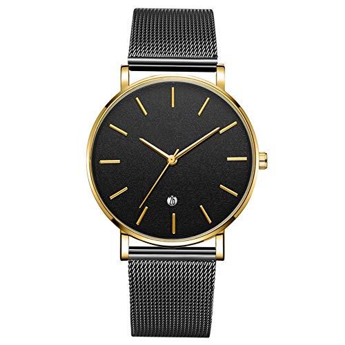 Reloj de pulsera analógico de cuarzo con esfera redonda de moda para hombres Reloj de hombre (correa negra caja de oro espejo negro aguja dorada)