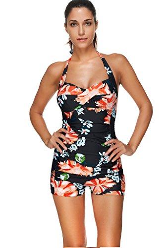 Labelar Damen Neckholder Badeanzug Einteiler Bademode Figurformend Schwimmanzug Retro Push Up Monikini