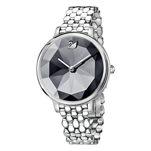 Swarovski Crystal Lake Armbanduhr  für Frauen, Edelstahl, dunkelgraues Kristall, Metallarmband
