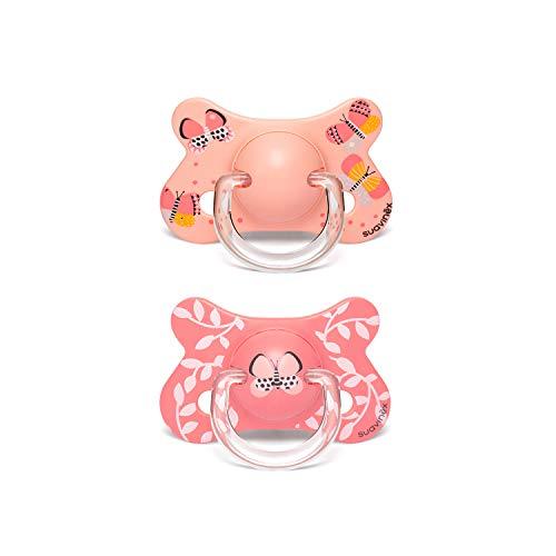 Suavinex - Pack 2 chupetes para bebés +18 meses. con tetina fisiológica de silicona. color Mariposas Rosa