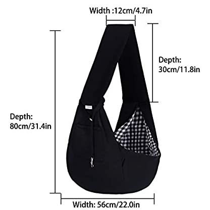 FDJASGY Small Pet Sling Carrier-Hands Free Reversible Pet Papoose Bag Tote Bag with a Pocket Safety Belt Dog Cat for Outdoor Travel Black 5