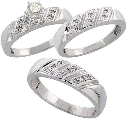 Triostar His New Free Shipping Her's 0.15 Ct Round Diamond 14K White Elegant Cut Ov Gold