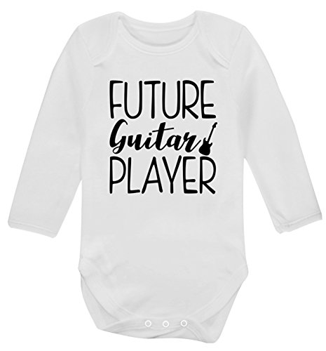 Flox Creative Future - Body a maniche lunghe con chitarra, per bambini bianco 3-6 Mesi