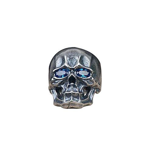 da Donna Regolabile in Argento Sterling 925,Gothic Black Skull Anello con Gli Occhi Blu per Gli Uomini Ragazzi Partito Regolabile Co-Locazione Design personalità Speciale Dono Punk Street Stile I
