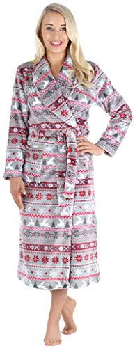 PajamaMania Women's Plush Fleece Long Non-Hooded Robe, Grey Nordic, LRG