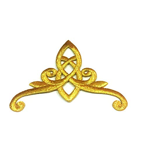 Patch Portal Gold Celtic Knot 4.3 Inches Crown Design Pattern DIY Embroidered Applique Golden Trinity Stencil Irish Tattoo Gothic Sew Iron on Patches for Men Women Clothing Dress Vest Jackets Cap Hat