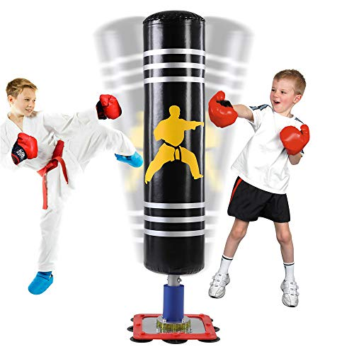 """Punching Bag for Kids - 47"""" Freestanding Punching Bag with Stand - Heavy Boxing Bag with Suction..."""